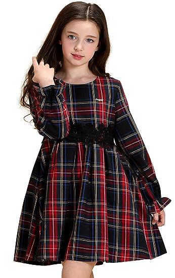 008ad8e876429 AuroraBaby Toddler Girls Plaid Dresses Long Sleeve Warm Dress for School  Autumn Winter Purple