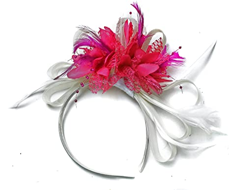 Image Unavailable. Image not available for. Color  White and Fuchsia Hot  Pink Fascinator Headband ... 4c019723139