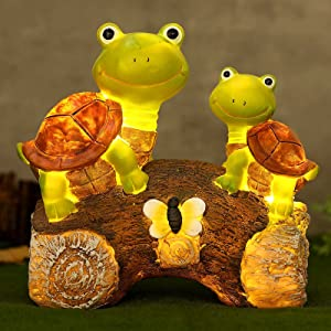 Garden Resin Statue Cute Frog Face Turtles Animal Sculpture with Solar LED Outdoor Garden Waterproof Figurine Decor for Patio Lawn Yard Housewarming Ornament Supplies