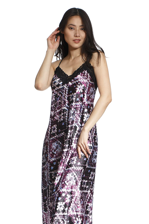 d4d8dd7feaf5 Jones New York Women s Sleeveless Long Satin Nightgown Kimono Robe Comfy  Sleepwear Soft Warm at Amazon Women s Clothing store