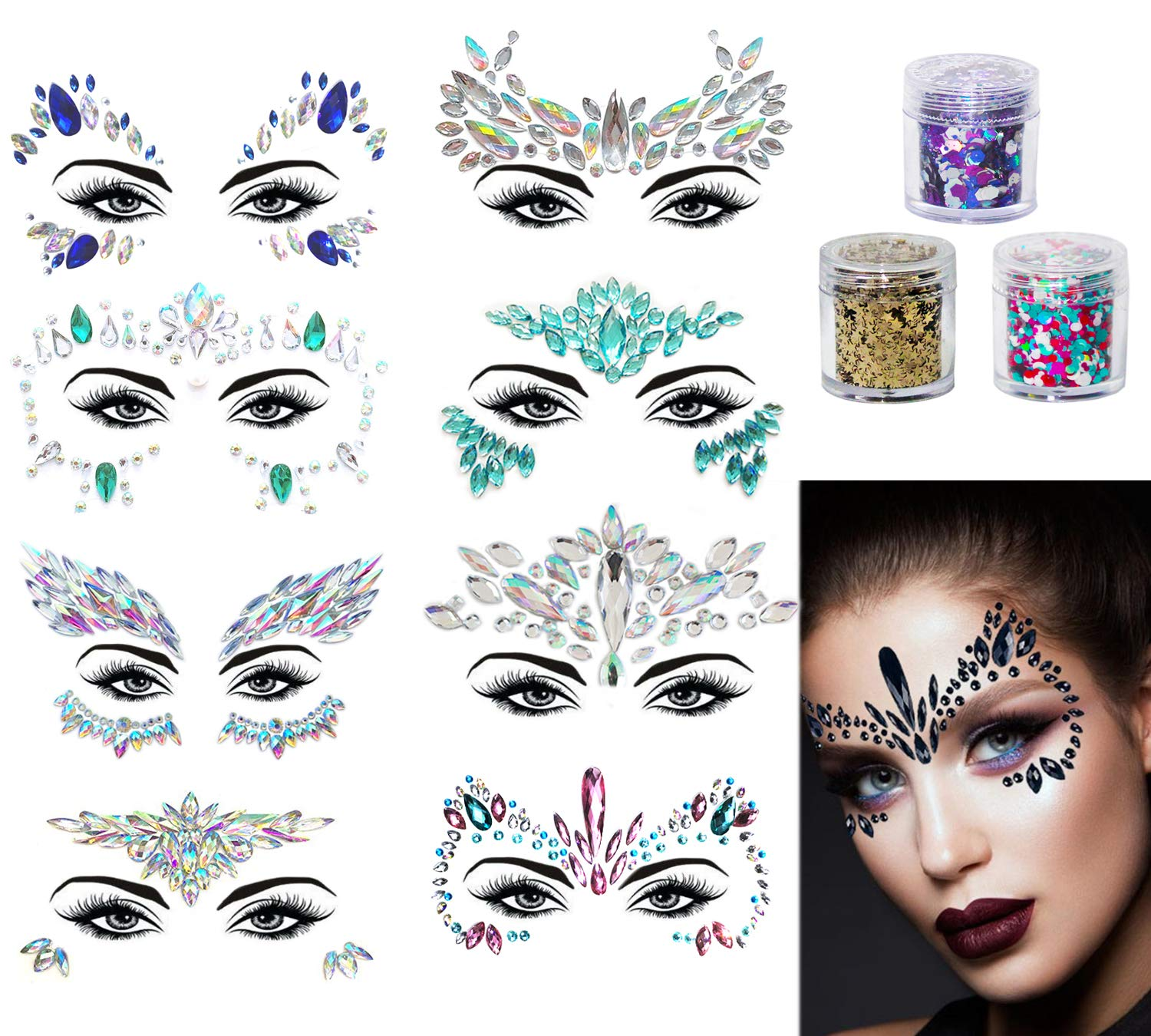 uBook Face Gems 8 Pack Face Jewellery Face Jewels Face Gems For Festivals With 3 Face Glitter