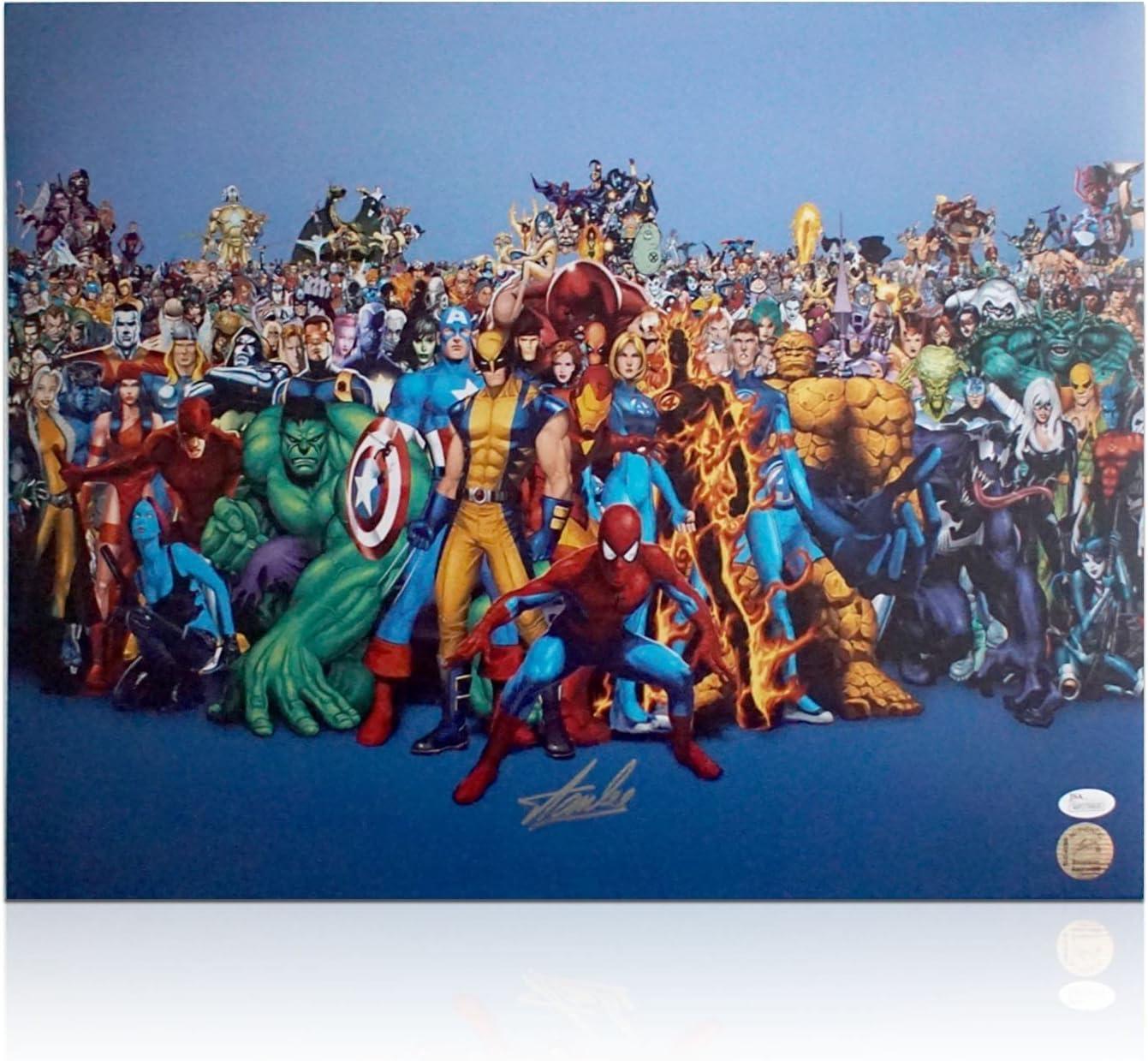 Cartel de los héroes de la maravilla firmado por Stan Lee: Amazon ...