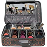 Makeup Bag with Brush Holder Large Compartments Professional Train Case By Chillax -2018 New and Improved Version Perfect Storage Organizers kit for lipstick, Mascara, Eye Shadow