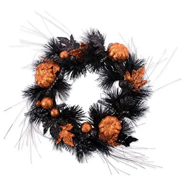 DII Decorative Pumpkins and Leaves 16  Fall Wreath for Front Door or Indoor Wall Décor to Celebrate Halloween & Fall Season