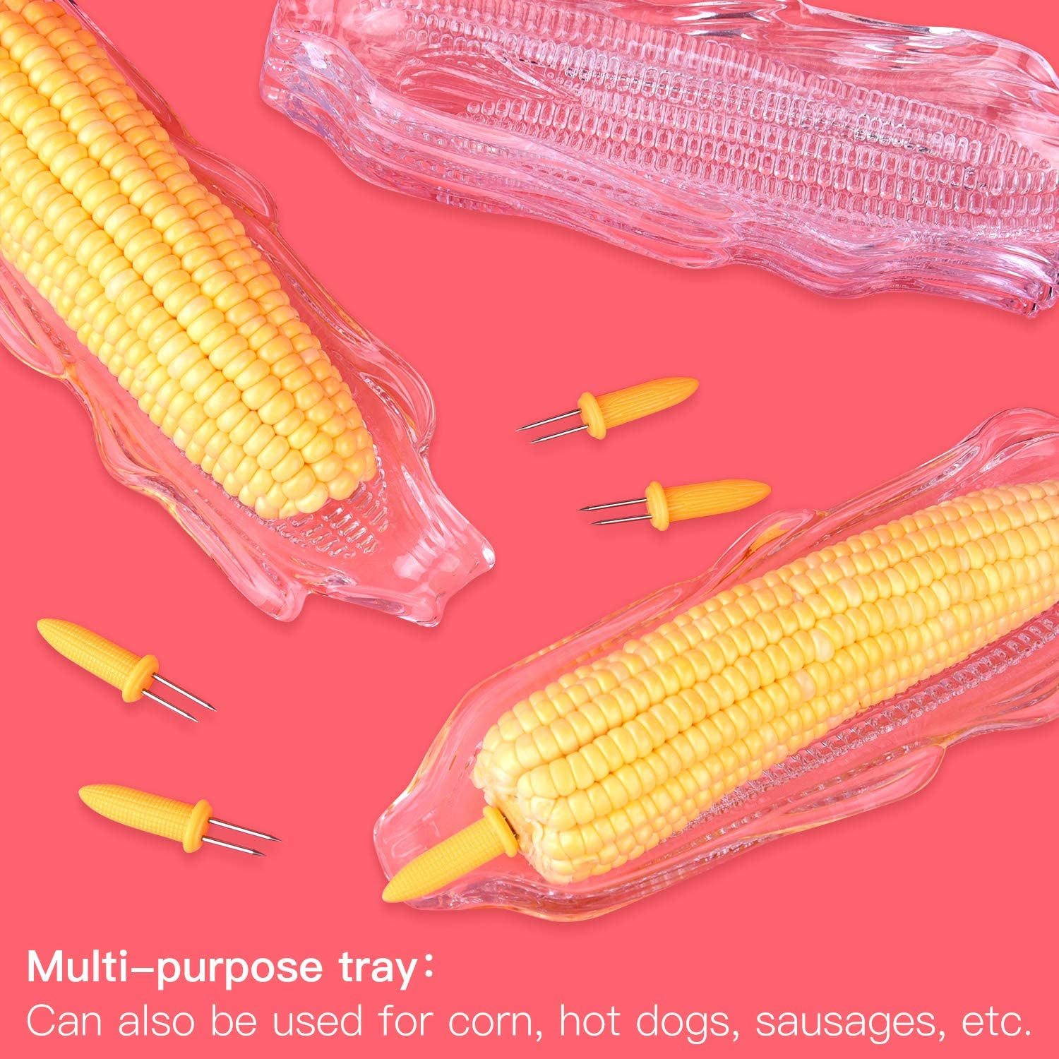 FEPITO 9 Pcs Corn Trays with 20 Pcs Corn Holders on the Cob Skewers Transparent Plastic Corn Dishes Corn Holders Cob Dinnerware for Sweet Butter Corn