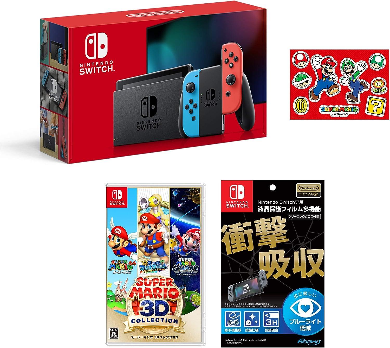 Nintendo Switch 本体 (ニンテンドースイッチ) Joy-Con(L) ネオンブルー/(R) ネオンレッド(バッテリー持続時間が長くなったモデル)+【任天堂ライセンス商品】