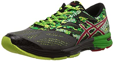 wholesale dealer 2d257 9c660 ASICS Men s Gel Noosa Tri 9 Carbon, Fiery Red and Green Mesh Running Shoes -