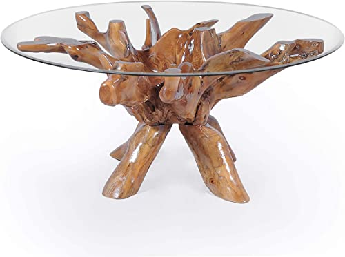 Teak Root Dining Table Including 55 Inch Round Glass Top Made