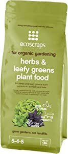 EcoScraps for Organic Gardening Herbs and Leafy Greens Plant Food, 4 lbs