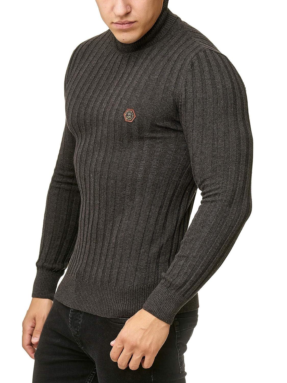 Red Bridge Uomo Manica Lunga Maglione a Collo Alto Costine Designer Basic Pullover