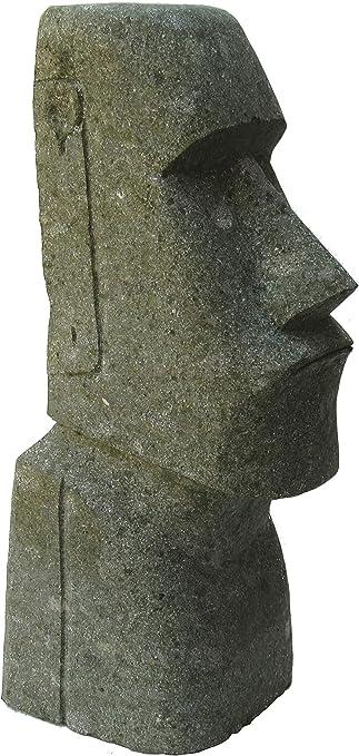 STONE art & more Moai - Piedra de mar de Pascua (80 cm, Piedra de Lava Verde, basanita, Trabajo de Piedra, Resistente a Las heladas): Amazon.es: Jardín