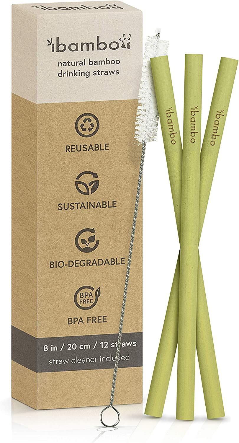 Ibambo 12 Pack Natural Bamboo Drinking Straws Eco Friendly Sustainable Reusable Bamboo Straws 8 Inch Straws With Straw Cleaner Biodegradable Alternative To Plastic Stainless Steel Glass Health Personal Care