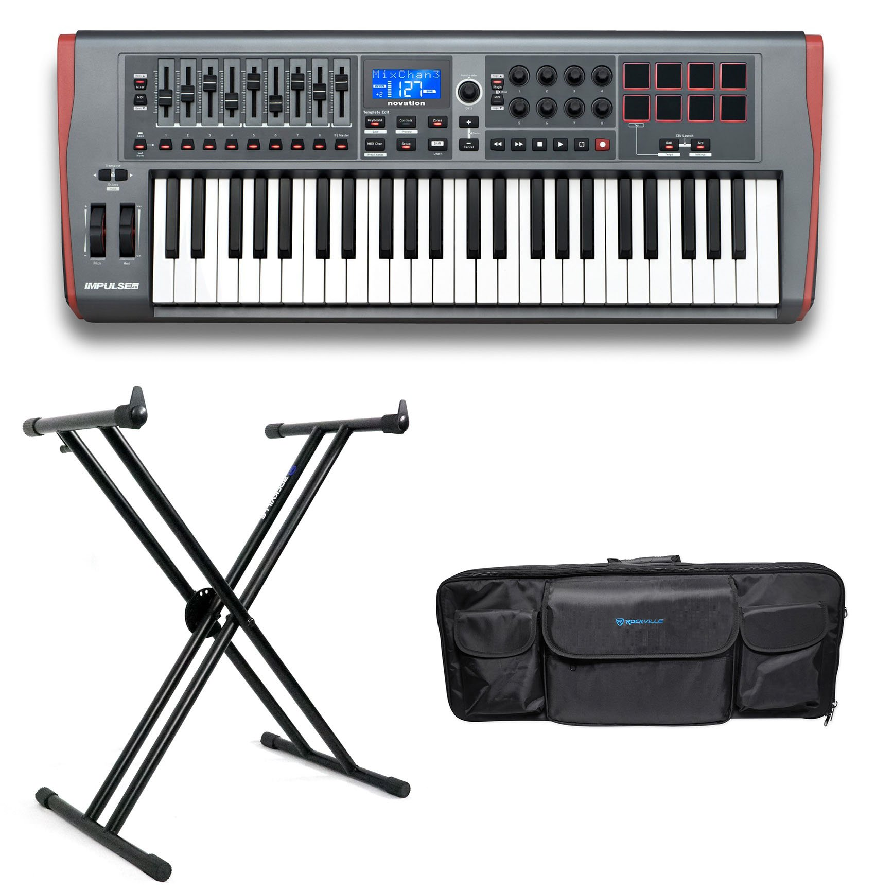 Novation IMPULSE 49-Key USB MIDI Keyboard Controller+Stand+Carry Bag by Novation