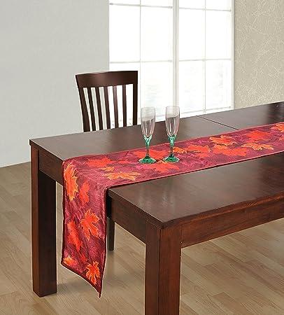 ShalinIndia Digitally Printed Burgundy Autumn Leaves Reversible Table Runner - 13