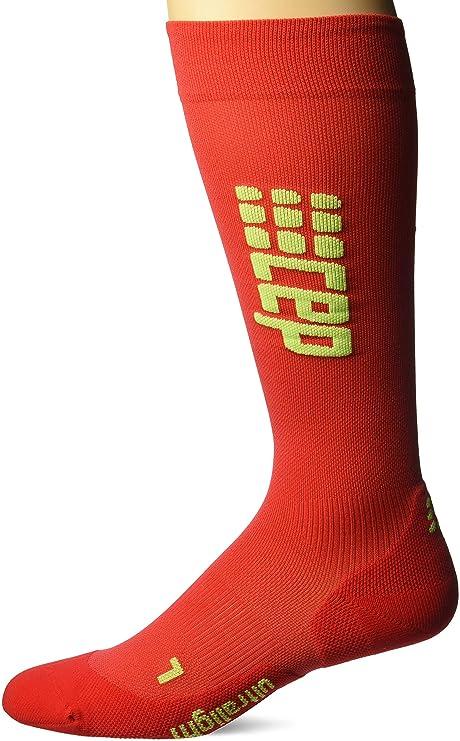 CEP Ultralight Run Calcetines Calcetines de compresión Hombre - Rojo/Verde, 32-38cm
