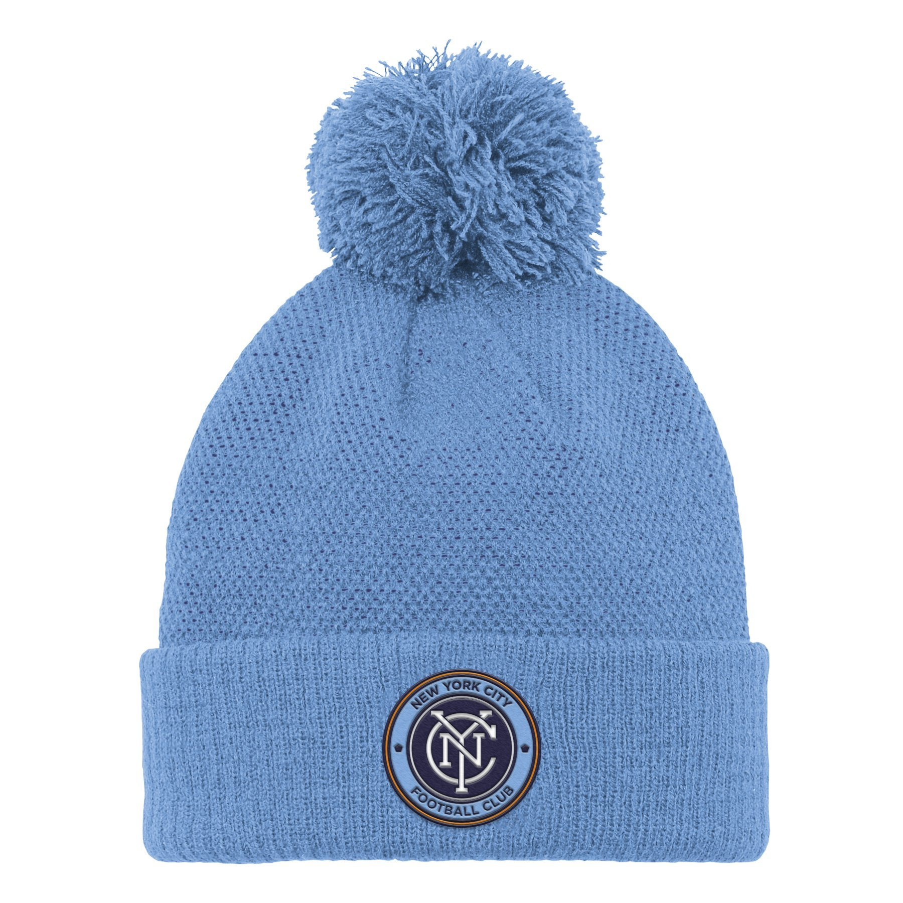 MLS NYCFC R S8FMS Youth Boys Cuffed Knit Hat with Pom, One Size (8), Bahia Blue