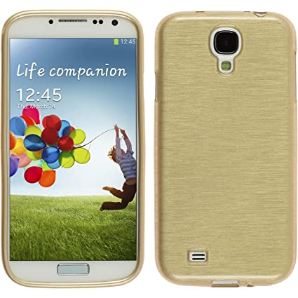 PhoneNatic Case para Samsung Galaxy S4 Funda Silicona Oro Brushed Cover Galaxy S4 Funda Case