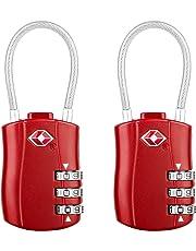 Diyife TSA Luggage Locks, [Newest Version][2 Packs] 3-Digit Security Padlock, Combination Padlocks, Code Lock for Travel Suitcases Luggage Bag Case etc. Red