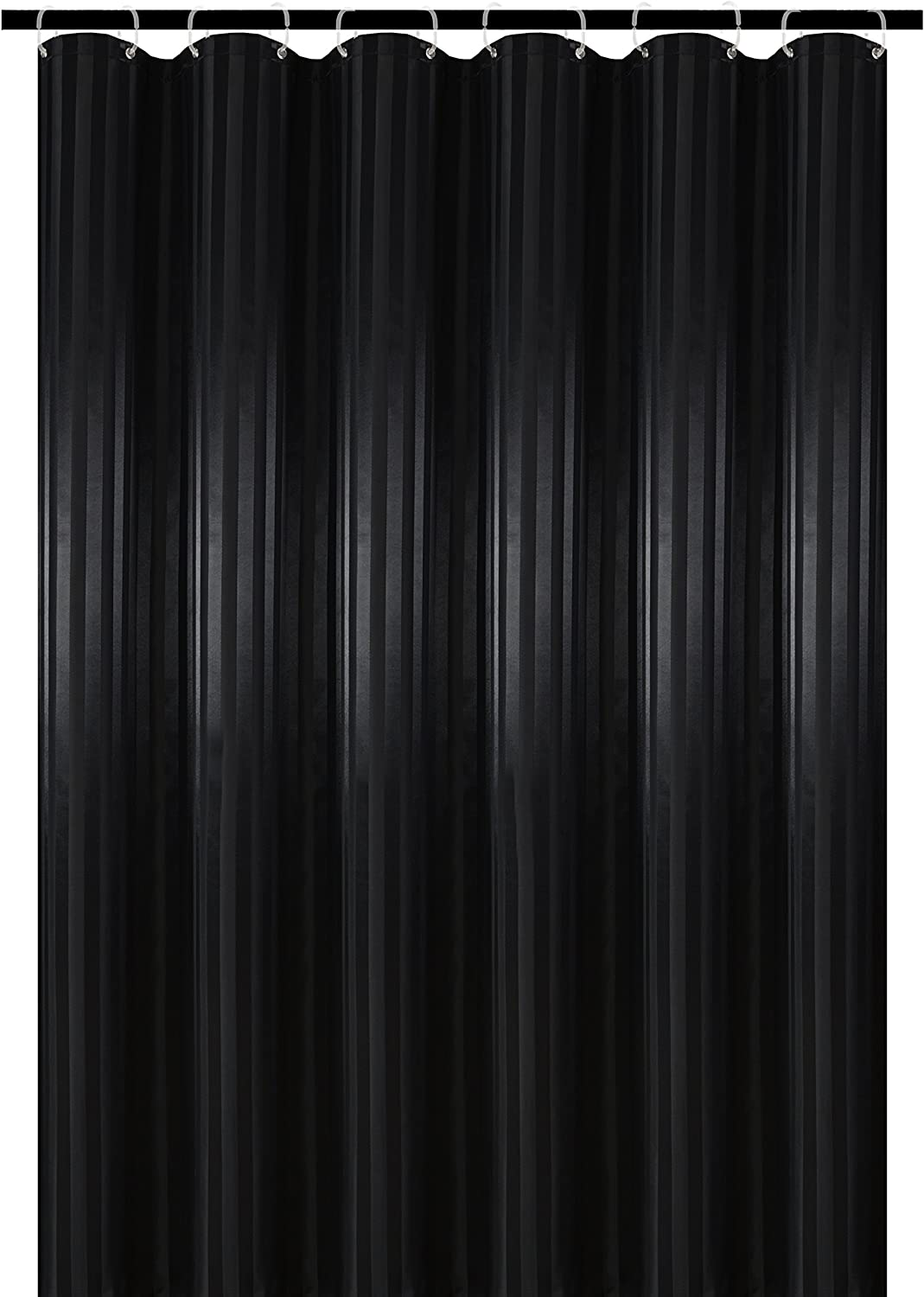 Biscaynebay Fabric Shower Curtains, Water Repellent Damask Stripes Bathroom Curtains, Black 72 by 72 Inches with 12 Hooks