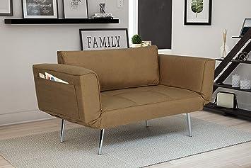Miraculous Novogratz 2042359 Leyla Loveseat Tan Theyellowbook Wood Chair Design Ideas Theyellowbookinfo