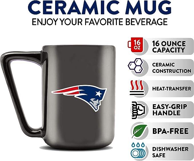 Duck House Nfl New England Patriots Keramik Kaffeetasse Metallic Schwarz 473 Ml Sport Freizeit