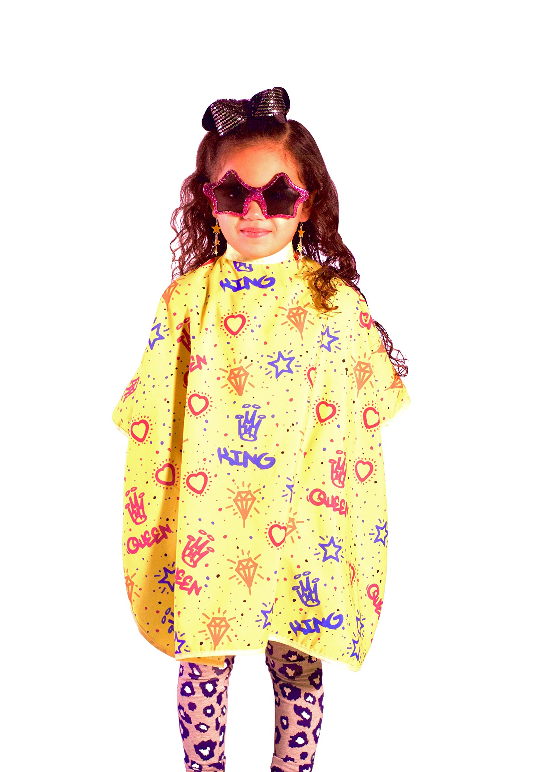King Midas Professional Kids Hair Cutting Cape''Kiddie Graffiti'' Children's Barber Cape With Snap Button Closure-Super Cool With Extra Length (Yellow)