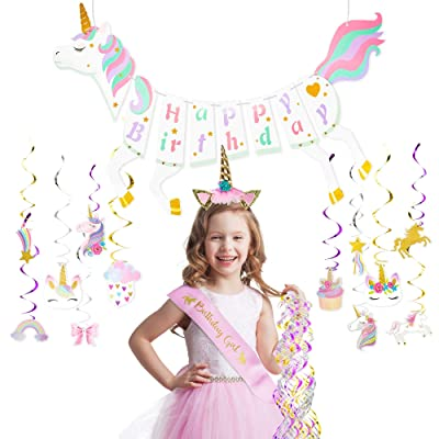 Unicorn Party Supplies   Unicorn Party Decorations includes Unicorn Headband For Girls With Sash Unicorn Birthday Banner & Unicorn Birthday Party Supplies With Hanging Swirl Decorations + eBook: Toys & Games