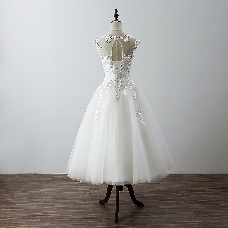 Womens Elegant Sheer Vintage Short Lace Wedding Dress for Bride