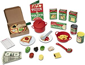Melissa & Doug Deluxe Pizza & Pasta Play Set Pretend Play Food (92Piece), Multicolor