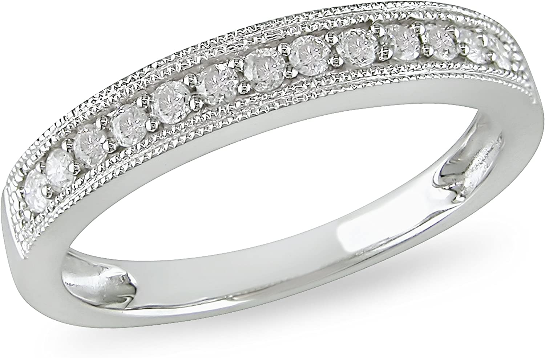 Anillo de matrimonio de diamante de 1/4 CT TW en oro blanco de 10k ...