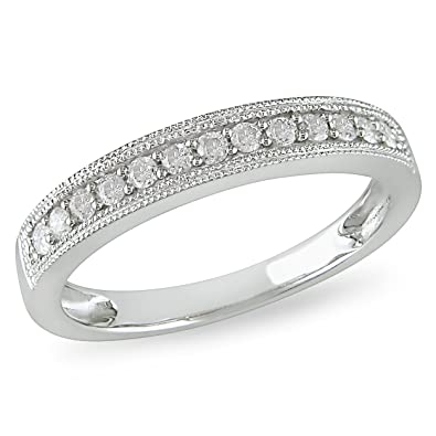 Anillo de matrimonio de diamante de 1/4 CT TW en oro blanco de 10k GH . I2;I3: Amazon.es: Joyería