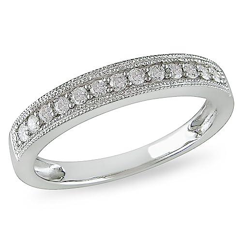 Anillo de matrimonio de diamante de 1/4 CT TW en oro blanco de 10k