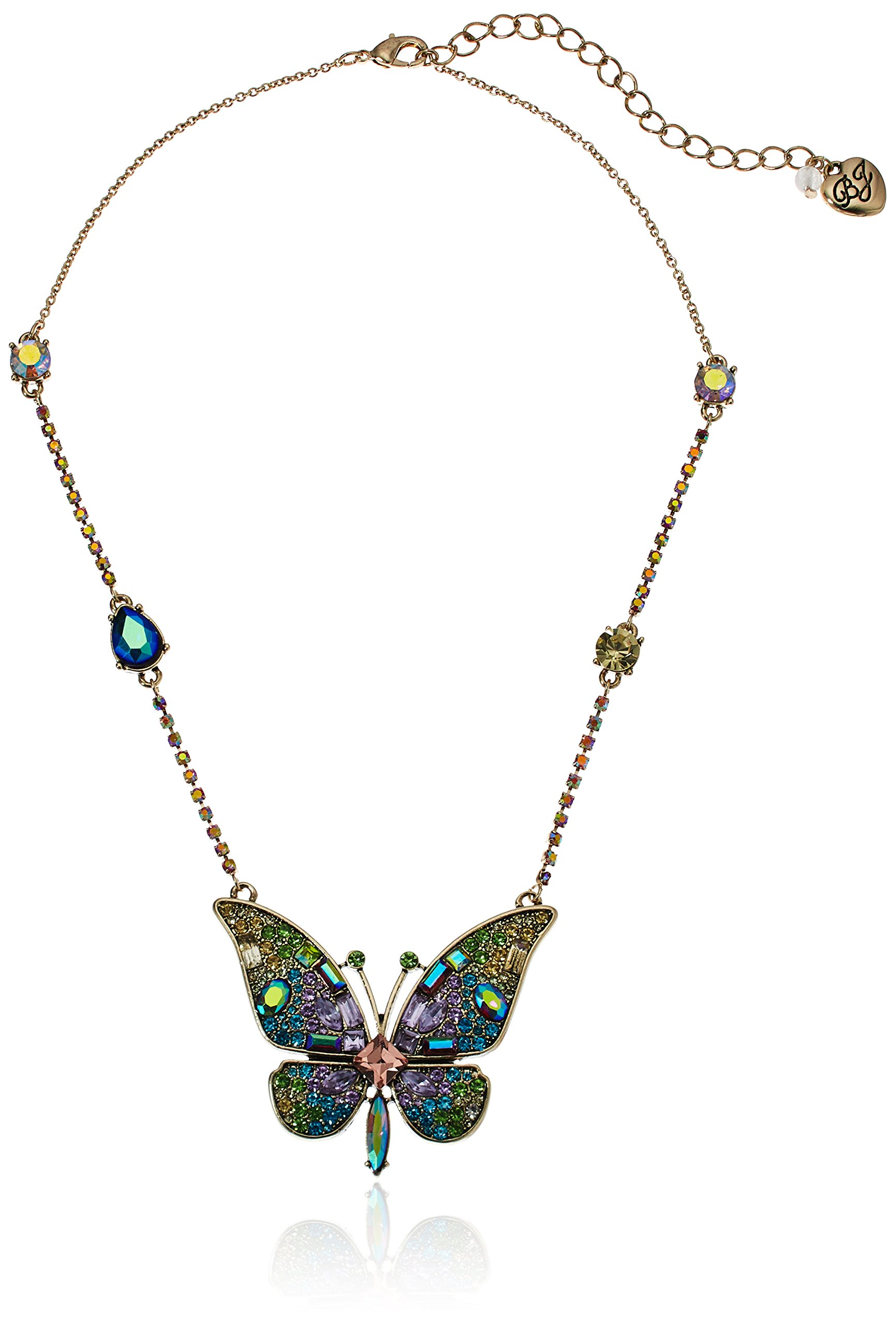 Betsey Johnson Womens Blooming Betsey Butterfly Pendant Necklace, Multi, One Size