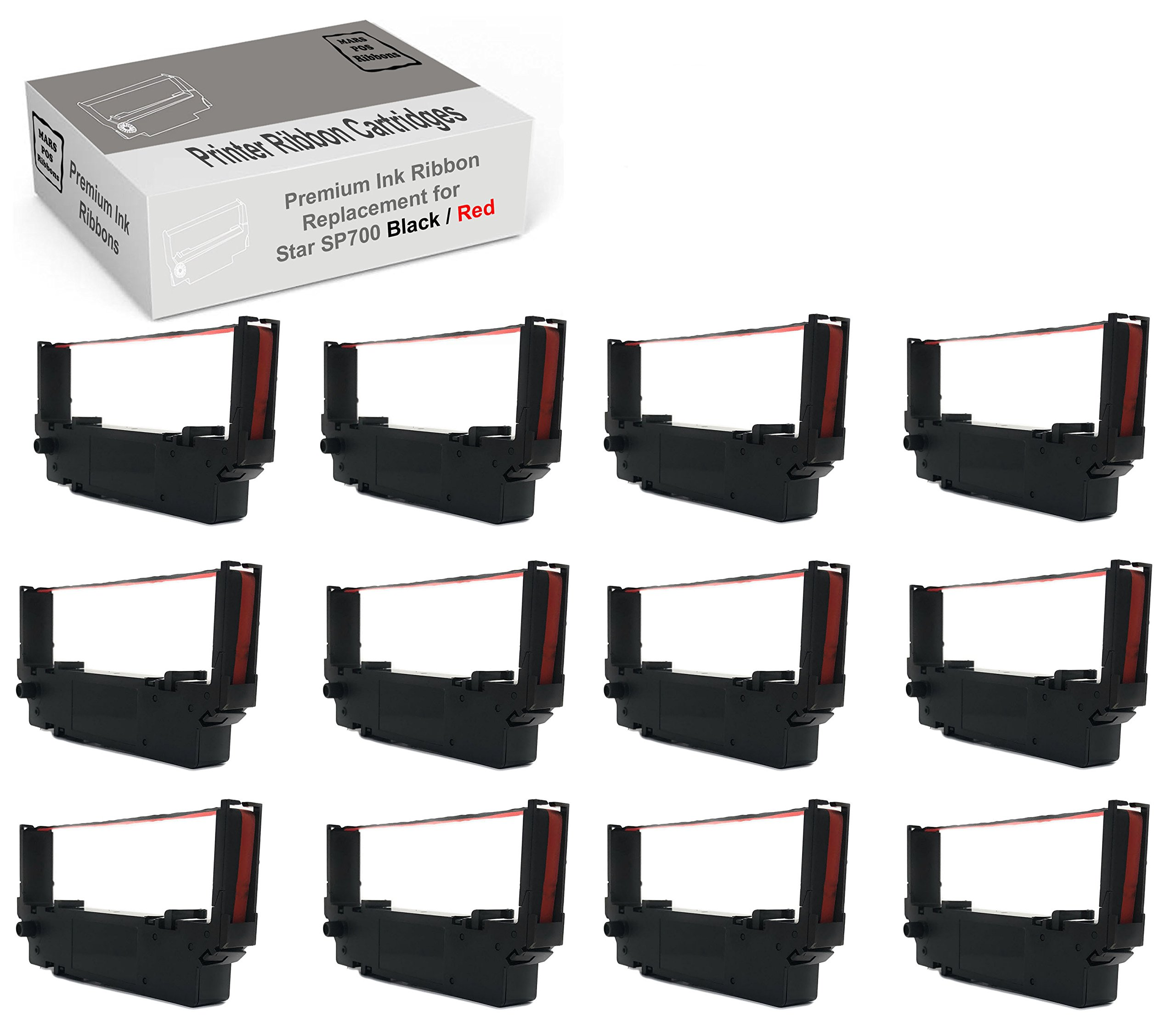 Mars POS Ribbons Star SP700 Printer Ribbon 12 Pack Star RC700BR Black Red Compatible Ribbons for Star SP700 712 742
