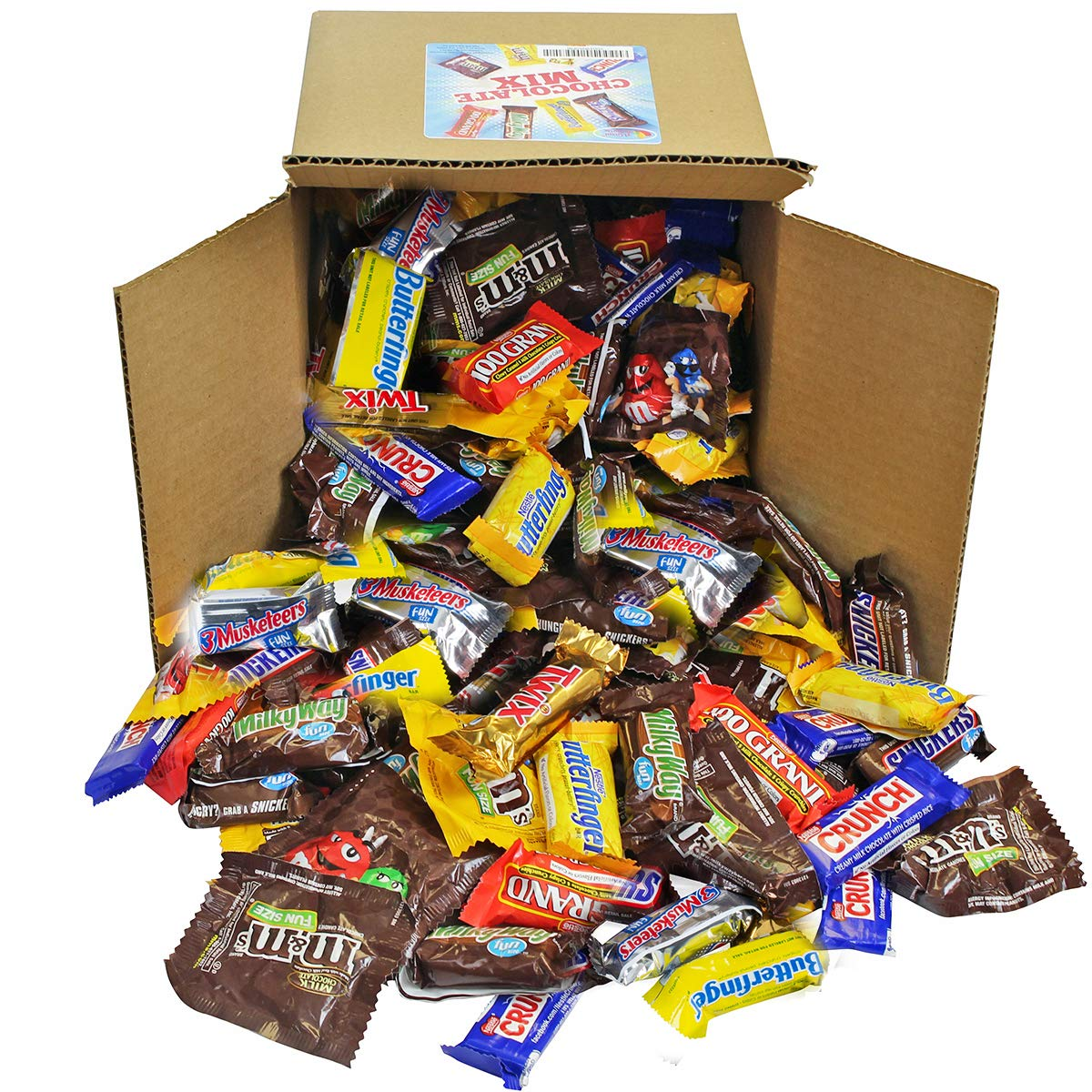 Chocolate Variety Pack - Fun Size Candy - All Your Favorite Chocolate Bars Including M&M, Snickers, Twix and More In 8x8x8 Bulk Box, 7.3 Lbs by A Great Surprise