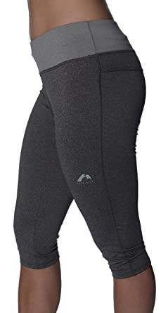 ccf6f7a6e7c40 More Mile Marl Womens Capri Running Tights Charcoal/Grey: Amazon.co.uk:  Clothing