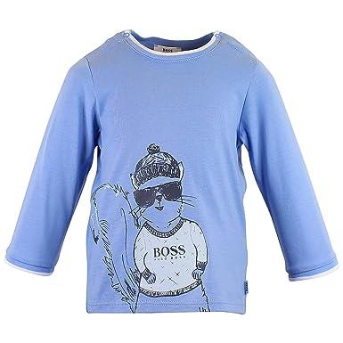 0dbe474f7 Amazon.com: Hugo Boss Baby Boys Pale Blue Cotton Long Sleeve T-Shirt ...