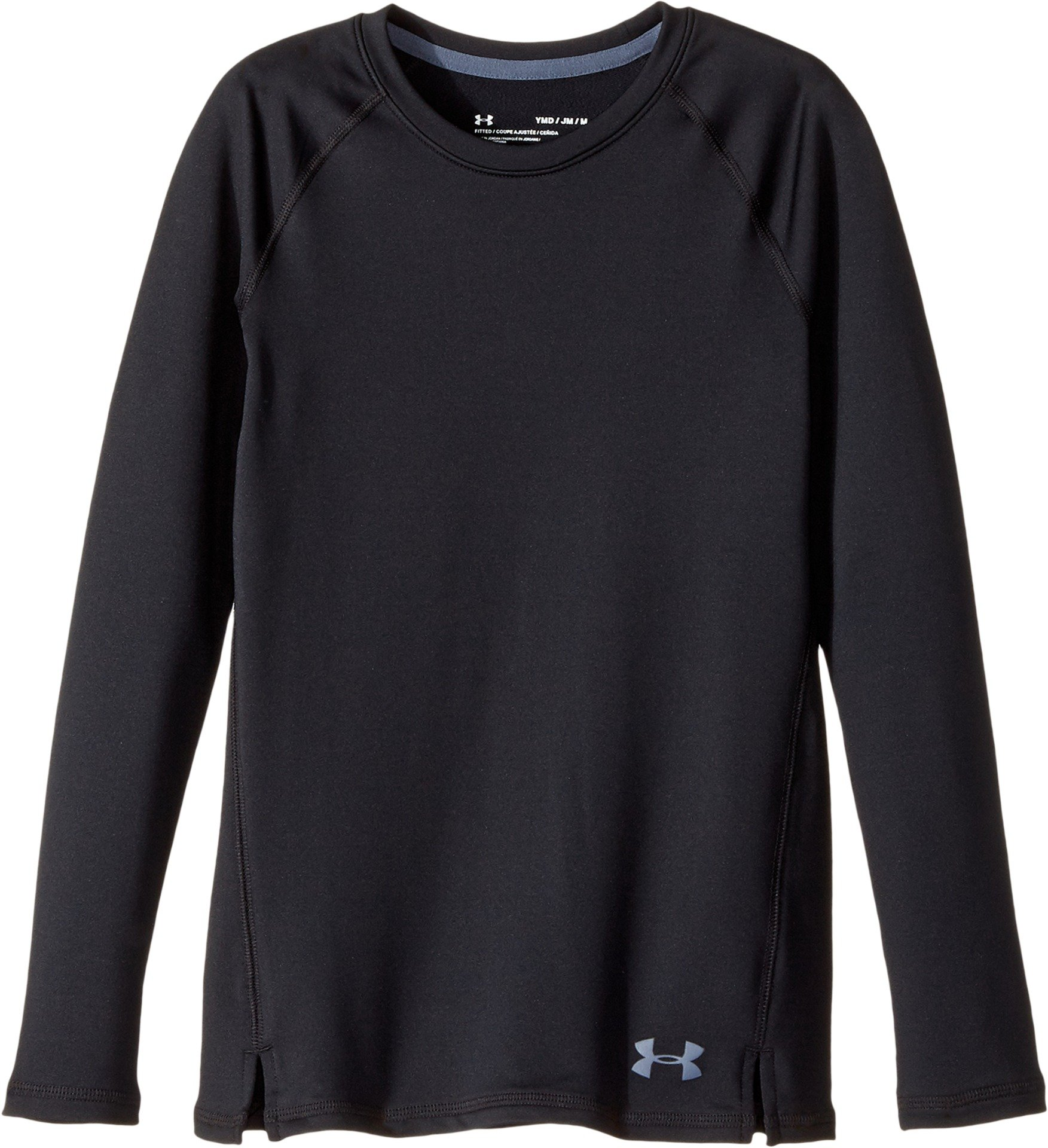 Under Armour Girls' ColdGear Crew Neck,Black (001)/Apollo Gray, Youth Small