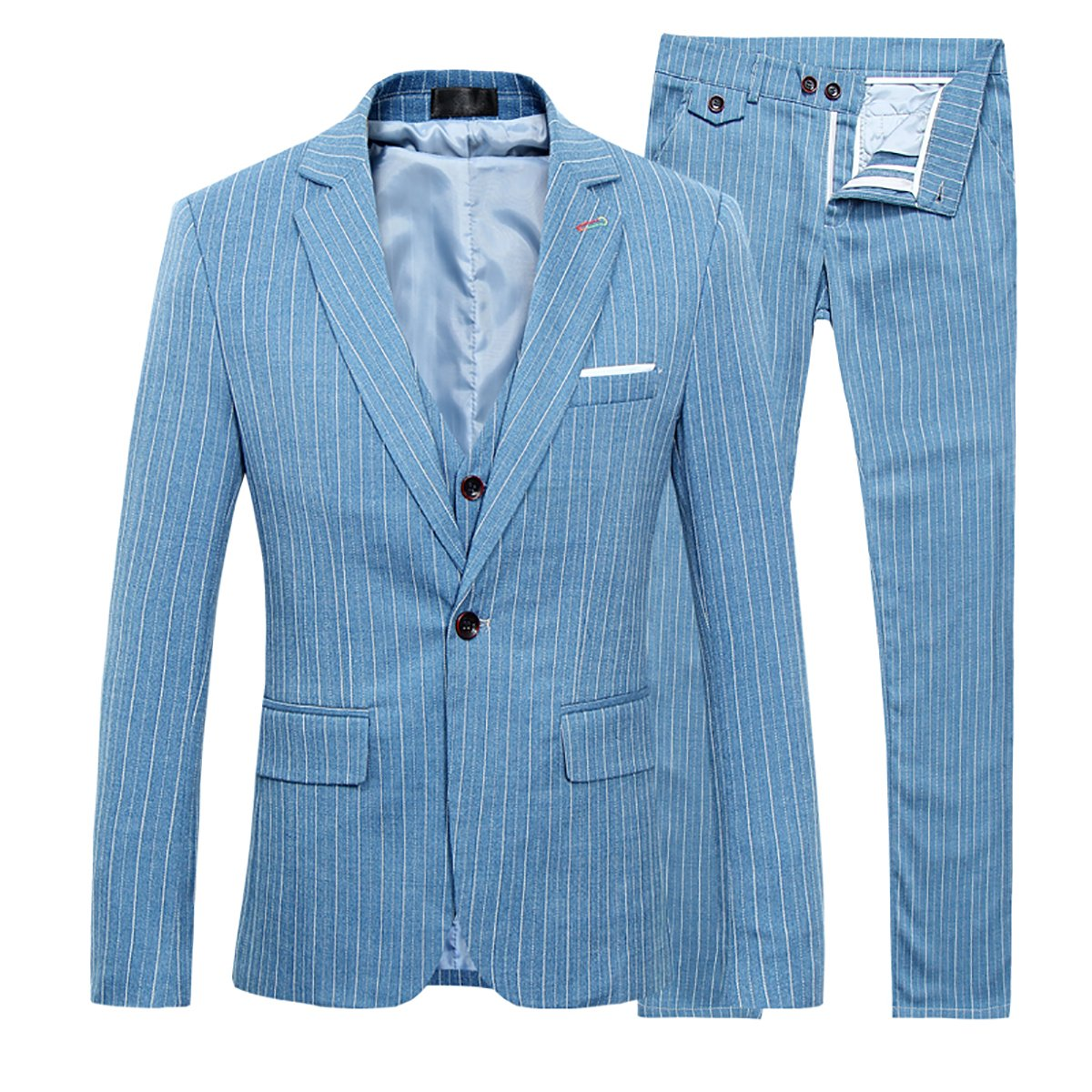 Men's Stripe Center Vents One Button 3-Piece Suit Blazer Jacket Tux Vest & Trousers TZ54
