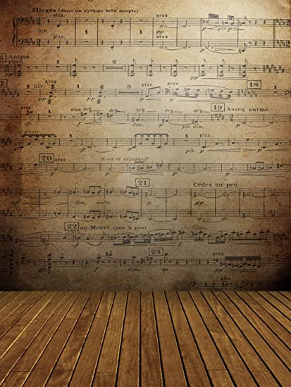 Brown Music Notes Wall Background For Photo Studio Wooden Floor Vintage School Stage Photography Booth Digital
