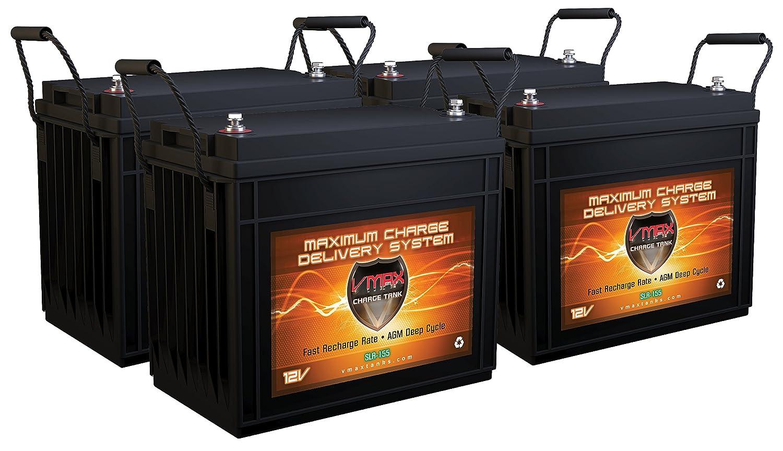 Qty 4 VMAX SLR155 8.4kWh Solar Off Grid Batteries AGM Deep Cycle 12V 155ah ea. 12V 24V 48V Battery Bank Compatible w/RV, Home, Business, Cabin, Boats Charge via Solar, Alternator, AC Charger/Inverter