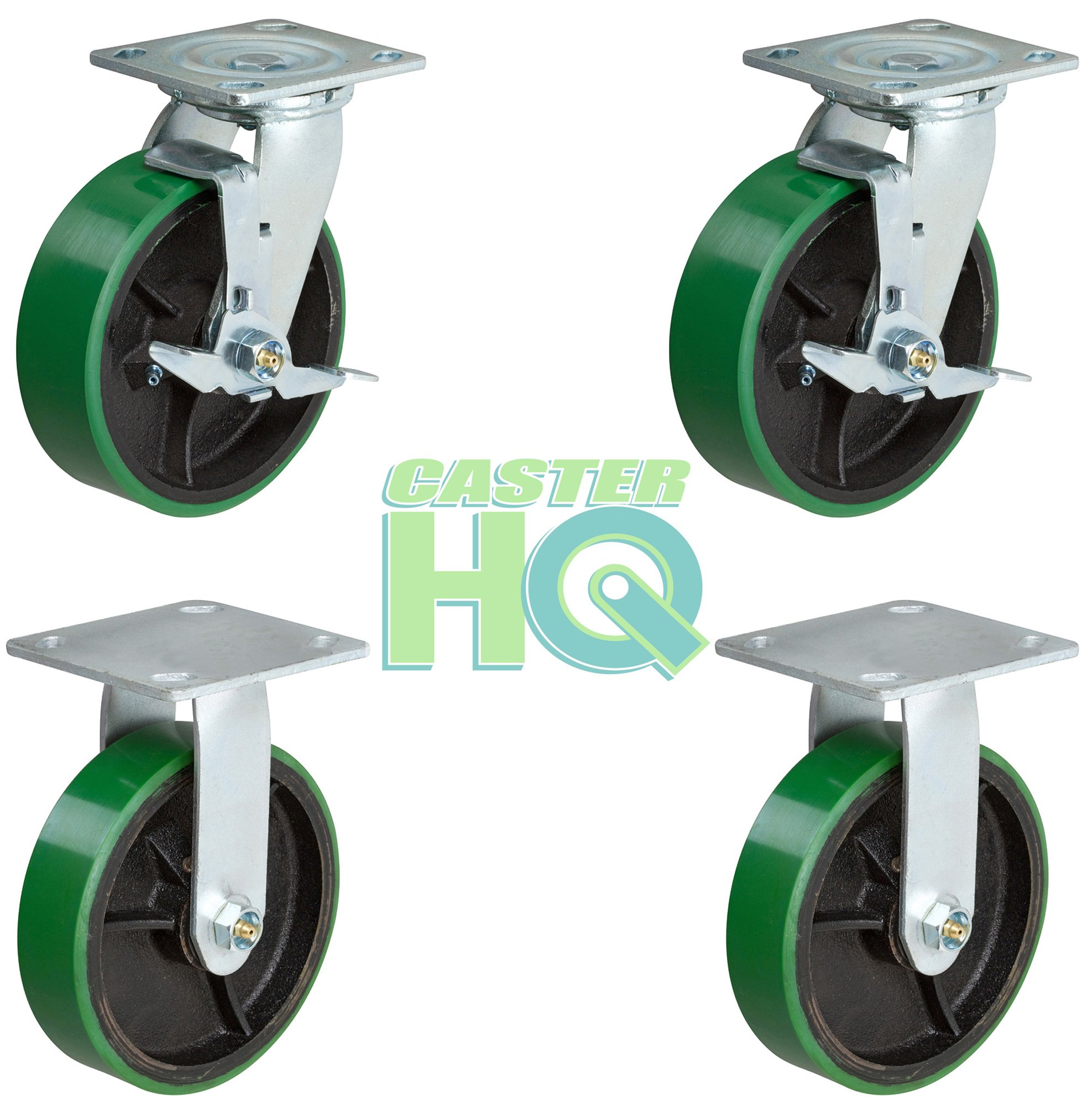 CasterHQ - 6 inch Heavy Duty Caster Set - 2 Swivel with Brake and 2 Fixed - Green Polyurethane Tread on Steel Core - Set of 4 - Toolbox Replacement Casters - 4 Pack