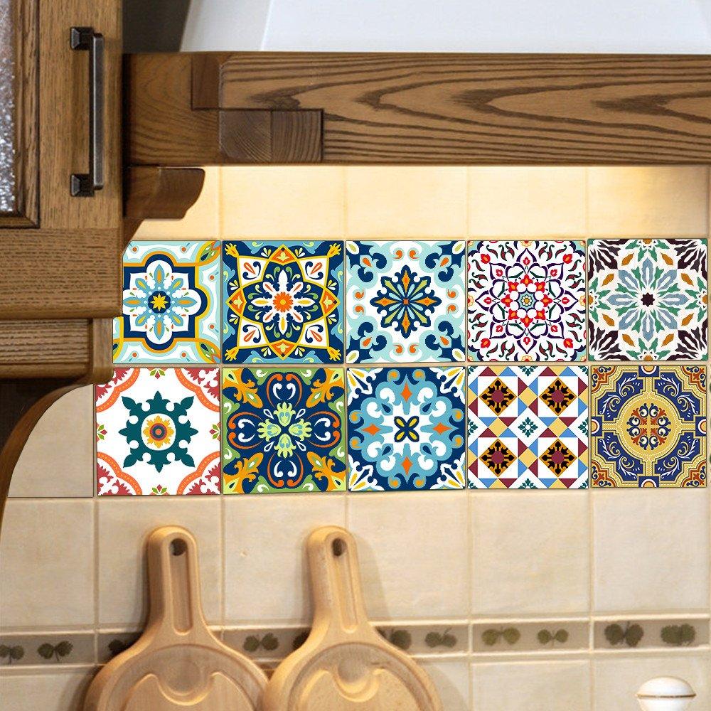 Rameng 10Pcs Carrelage Adhésif 20 x 20 cm Adhésive Décorative à Carreaux pour Salle de Bains et Cuisine Mosaïque Murale (D) Rameng