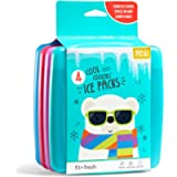 Fit + Fresh Cool Coolers Slim Ice Packs, Reusable Ice Packs for Lunch Bags, Beach Bags, Coolers, and More, Set of 4…