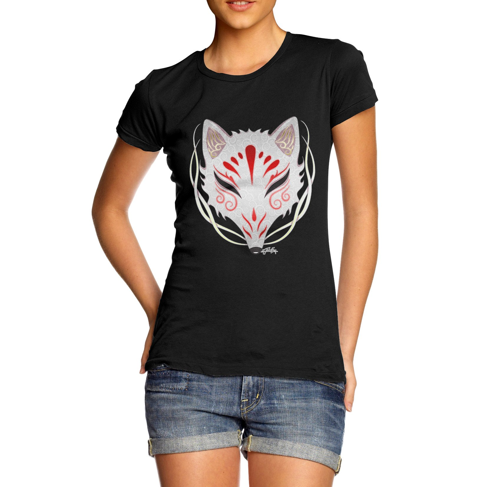Twisted Envy Womens Kitsune Tribal Mask Organic Cotton Black T-Shirt Large