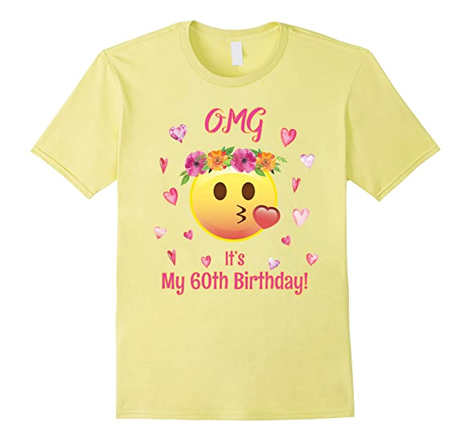 Mens Emoji OMG Its My 60th Birthday T Shirt 60 Women TShirt Pink 3XL Lemon