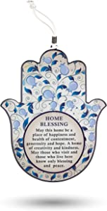 Hamsa Wall Decor Evil Eye Charm Protection Amulet Home/Business Good Luck Charms in English/Hebrew Blessings (Blue Pomegranate, English Blessings)