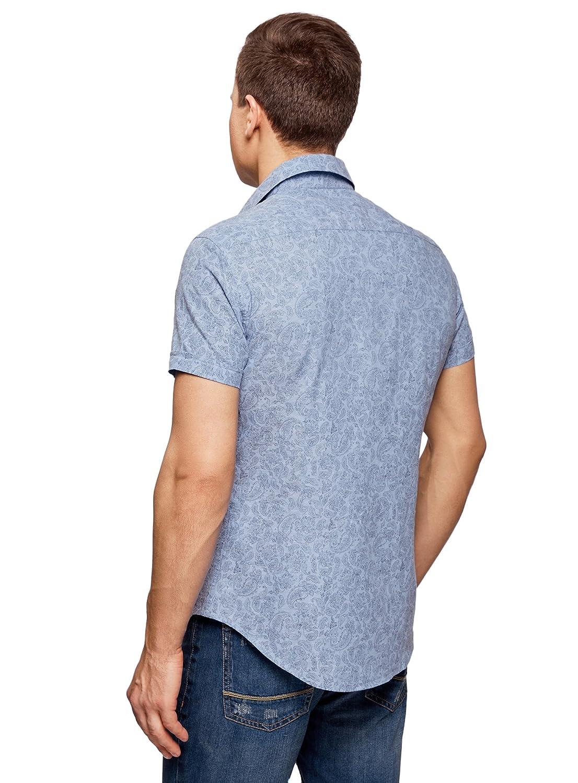 oodji Ultra Uomo Camicia Slim Fit Stampata con Maniche Corte