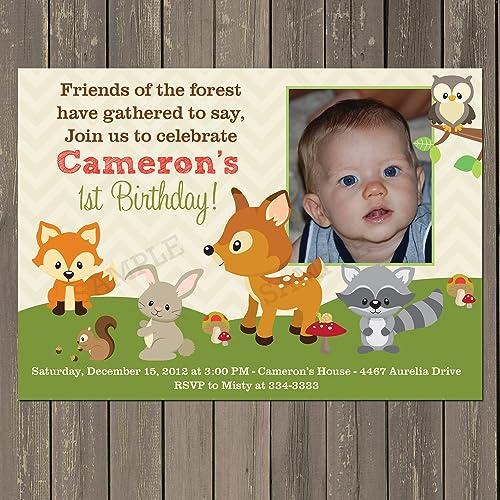 amazon com woodland birthday invitation woodland animals fall