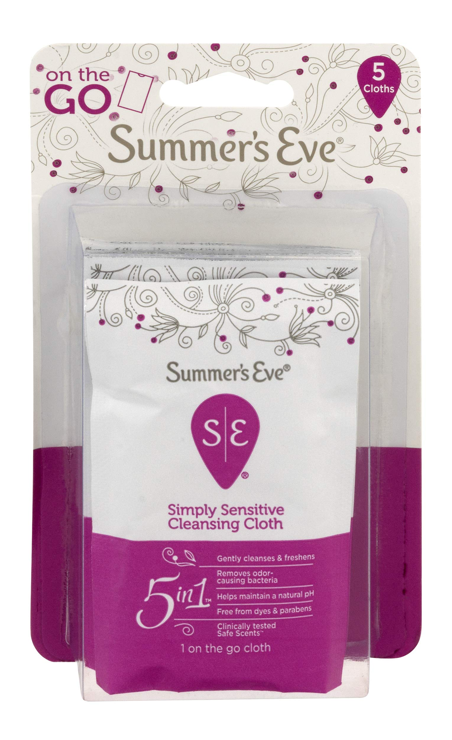 Summer's Eve to GO Feminine Wipes | Simply Sensitive | 5 Count | Pack of 24